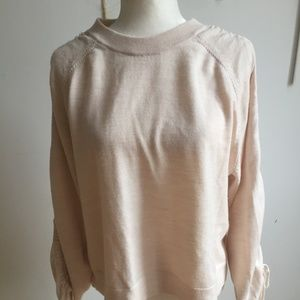 All Saints light pink cruched sleeve sweater sz L